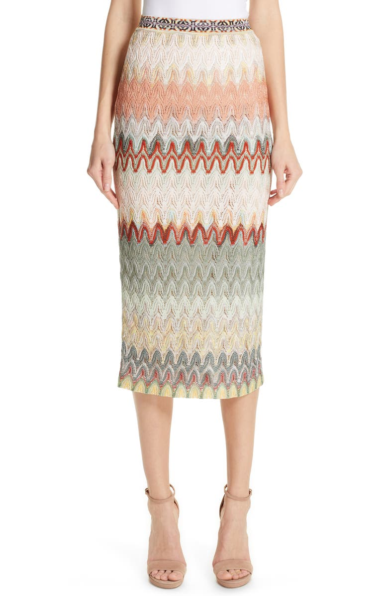 MISSONI Zigzag Pointelle Pencil Skirt, Main, color, CREAM