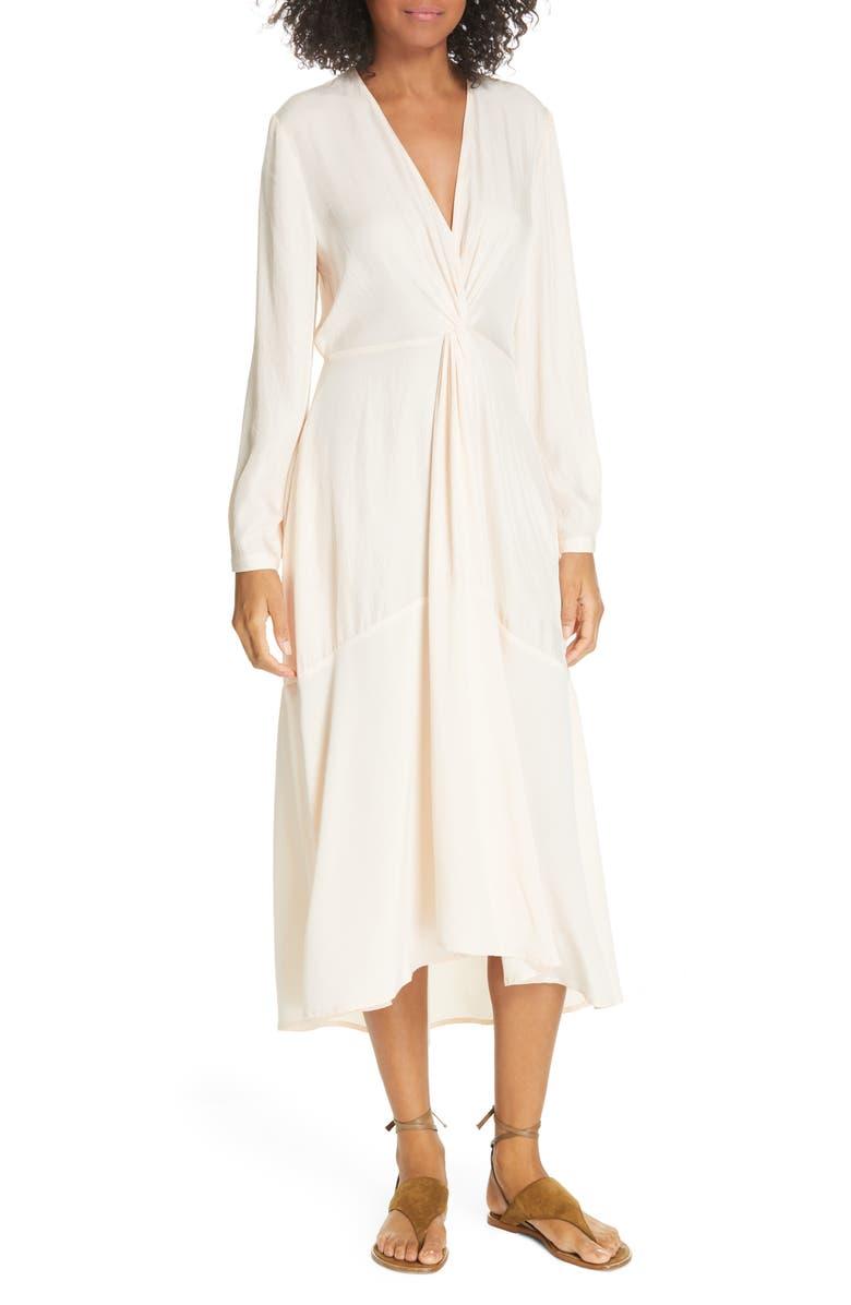 VINCE Long Sleeve Twist Drape Dress, Main, color, OAT BLUSH