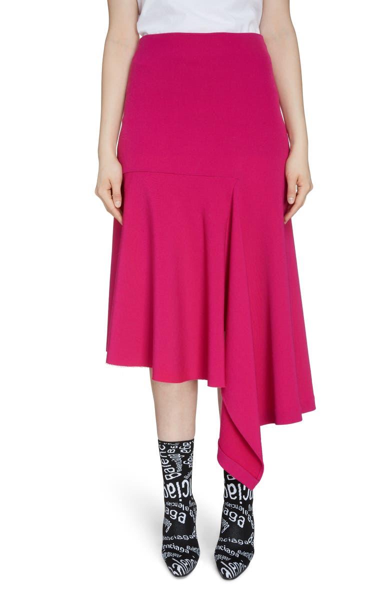 BALENCIAGA Asymmetrical Drape Midi Skirt, Main, color, 650