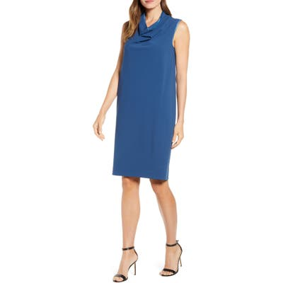 Anne Klein Cowl Neck Crepe Sheath Dress, Blue/green