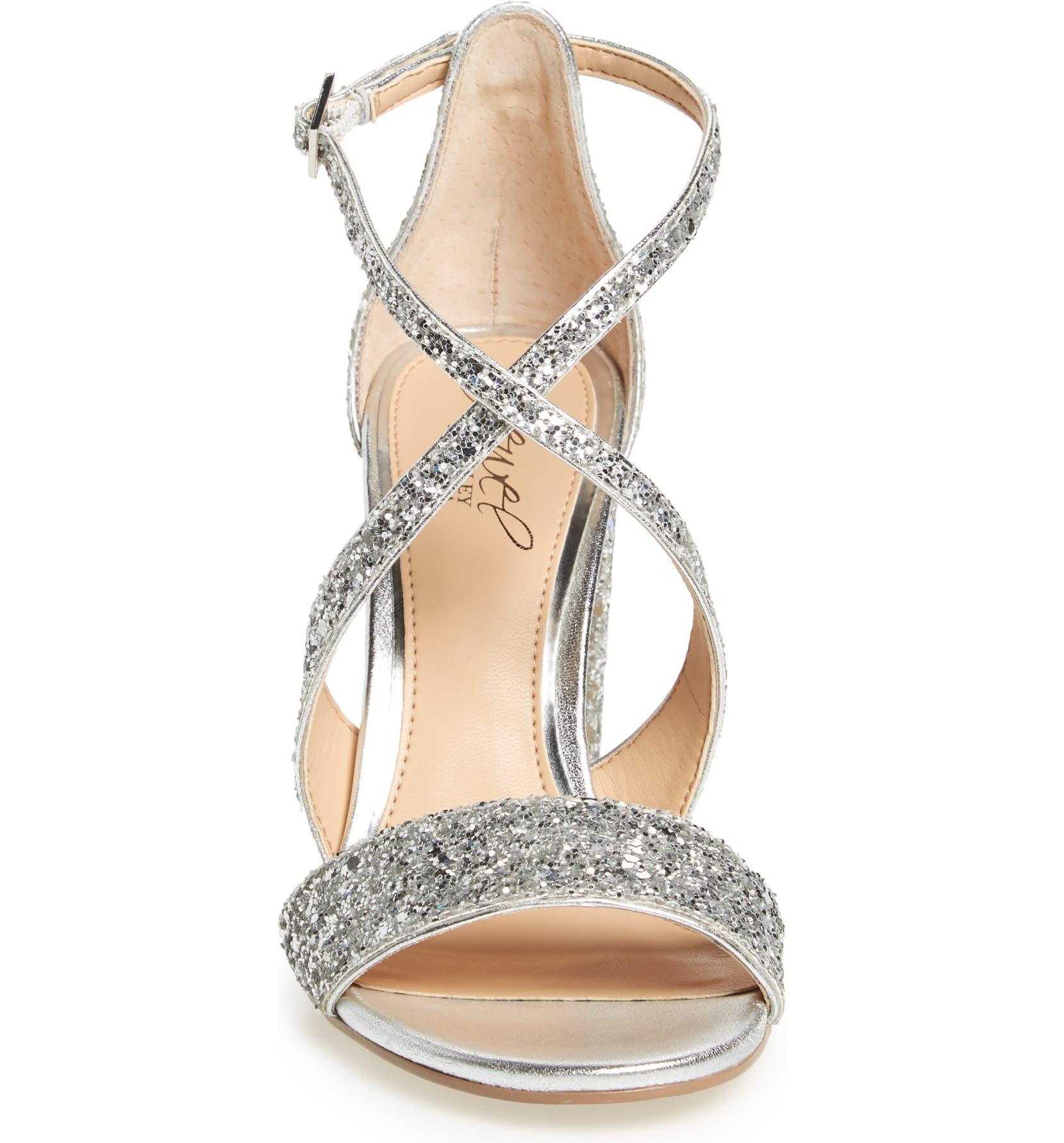 220ea4f688 Jewel Badgley Mischka Cook Block Heel Glitter Sandal (Women) | Nordstrom