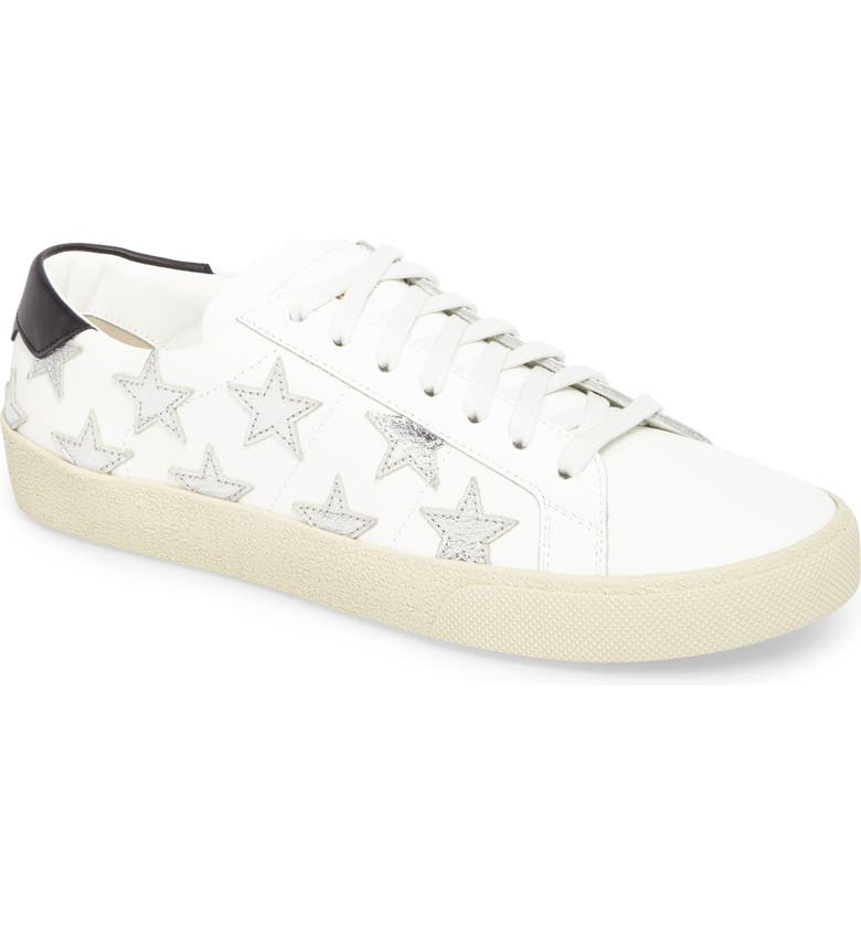 SAINT LAURENT Classic Court Sneaker, Main, color, IVORY/ SILVER STARS
