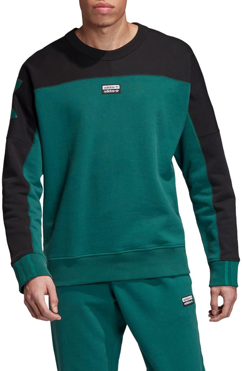 ADIDAS ORIGINALS Vocal A Colorblock Crewneck Sweatshirt, Main, color, COLLEGIATE GREEN