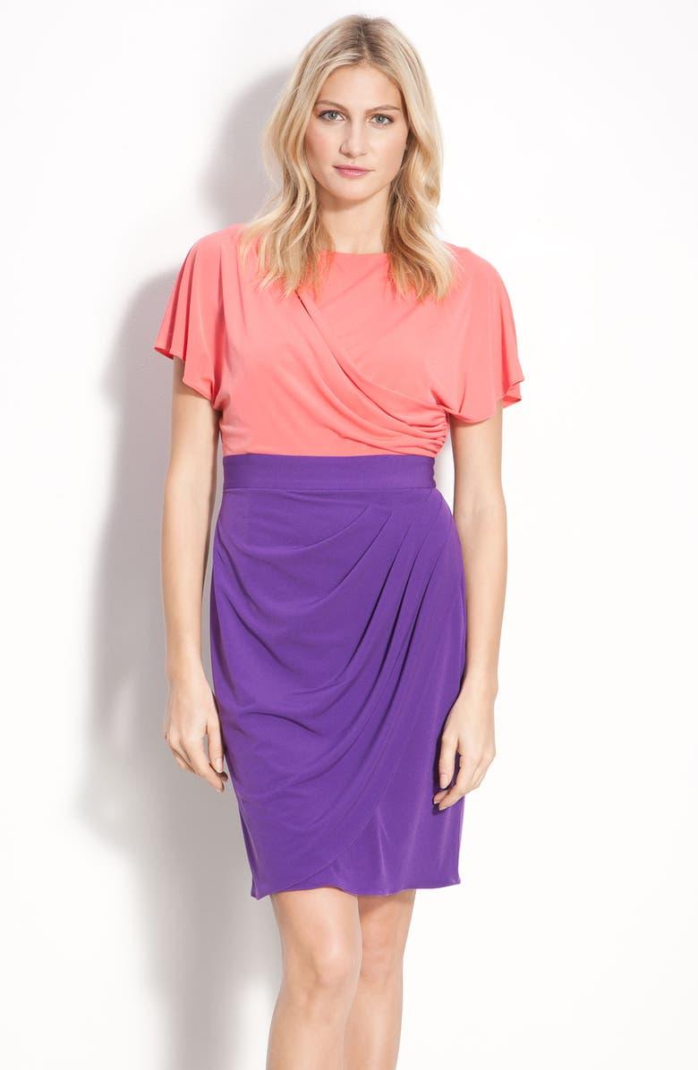 DONNA RICCO Mock Two Piece Draped Sheath Dress, Main, color, 758