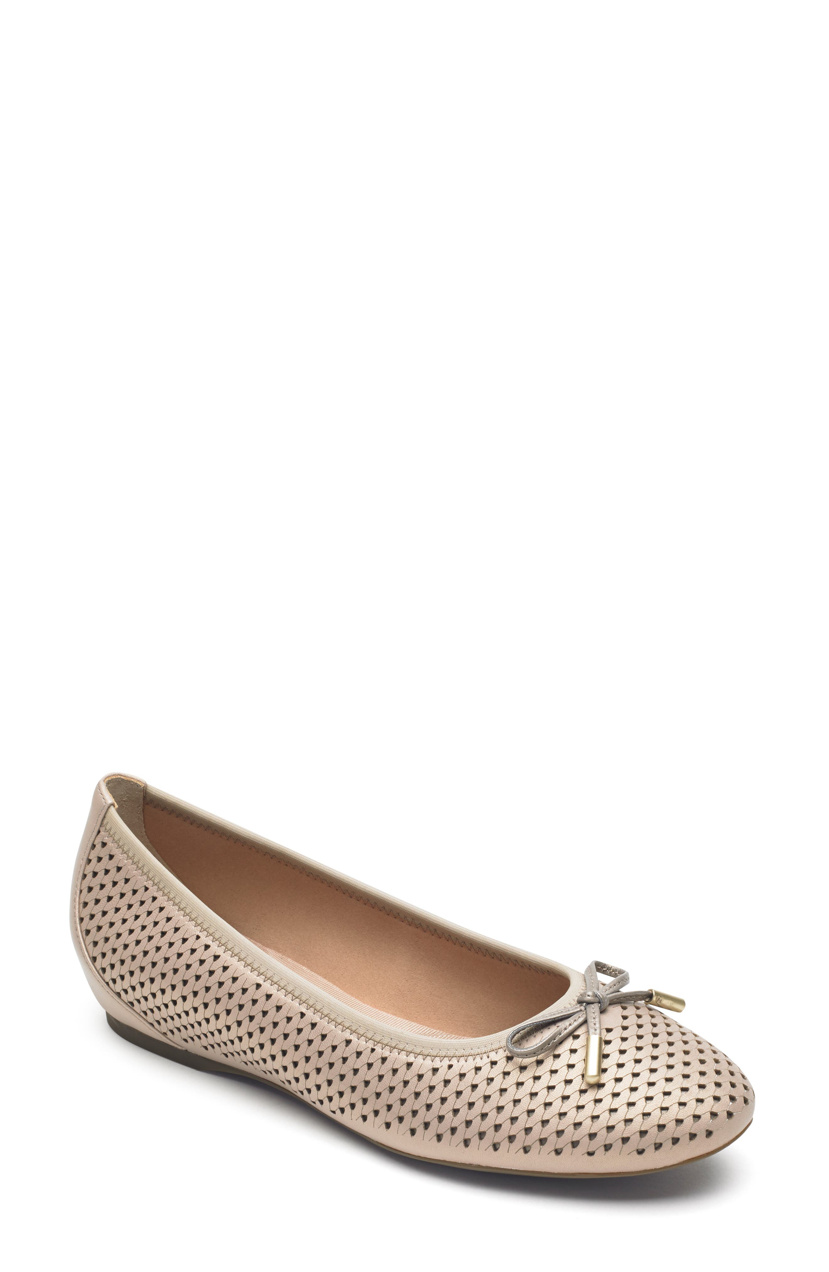 Rockport Total Motion Hidden Wedge Perforated Flat- Beige