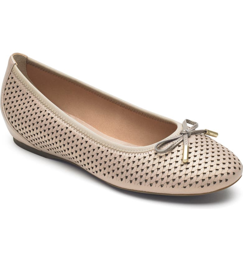ROCKPORT Total Motion Hidden Wedge Perforated Flat, Main, color, NEUTRAL BEIGE
