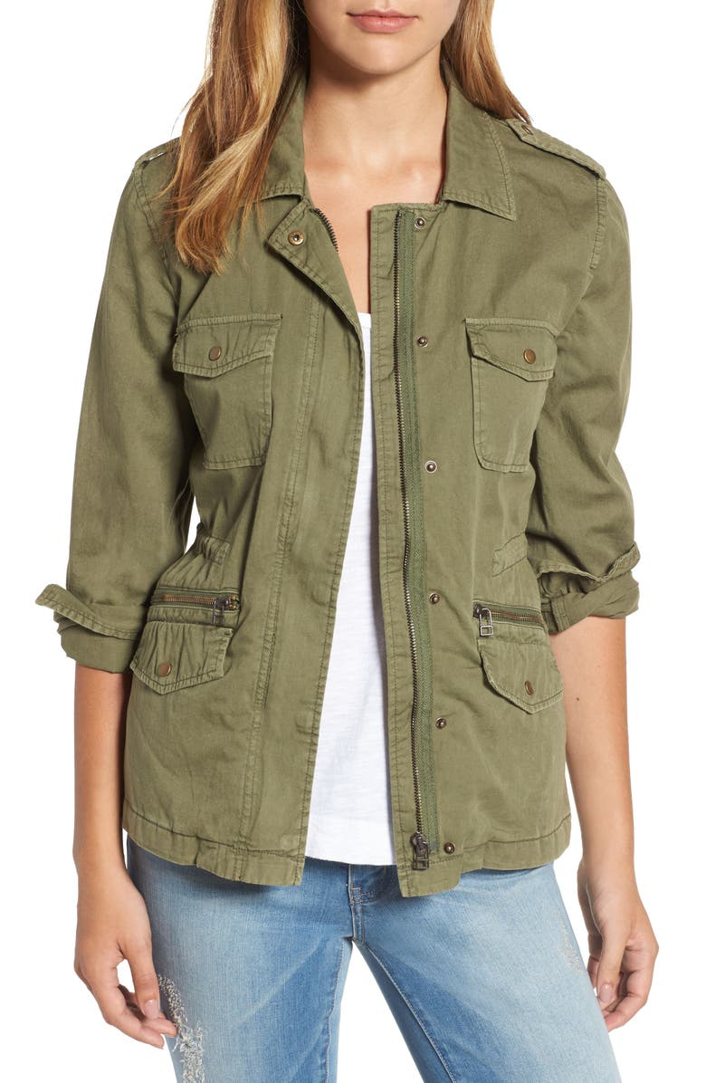 VELVET BY GRAHAM & SPENCER Lily Aldridge for Velvet by Graham & Spencer Army Jacket, Main, color, FOREST GREEN