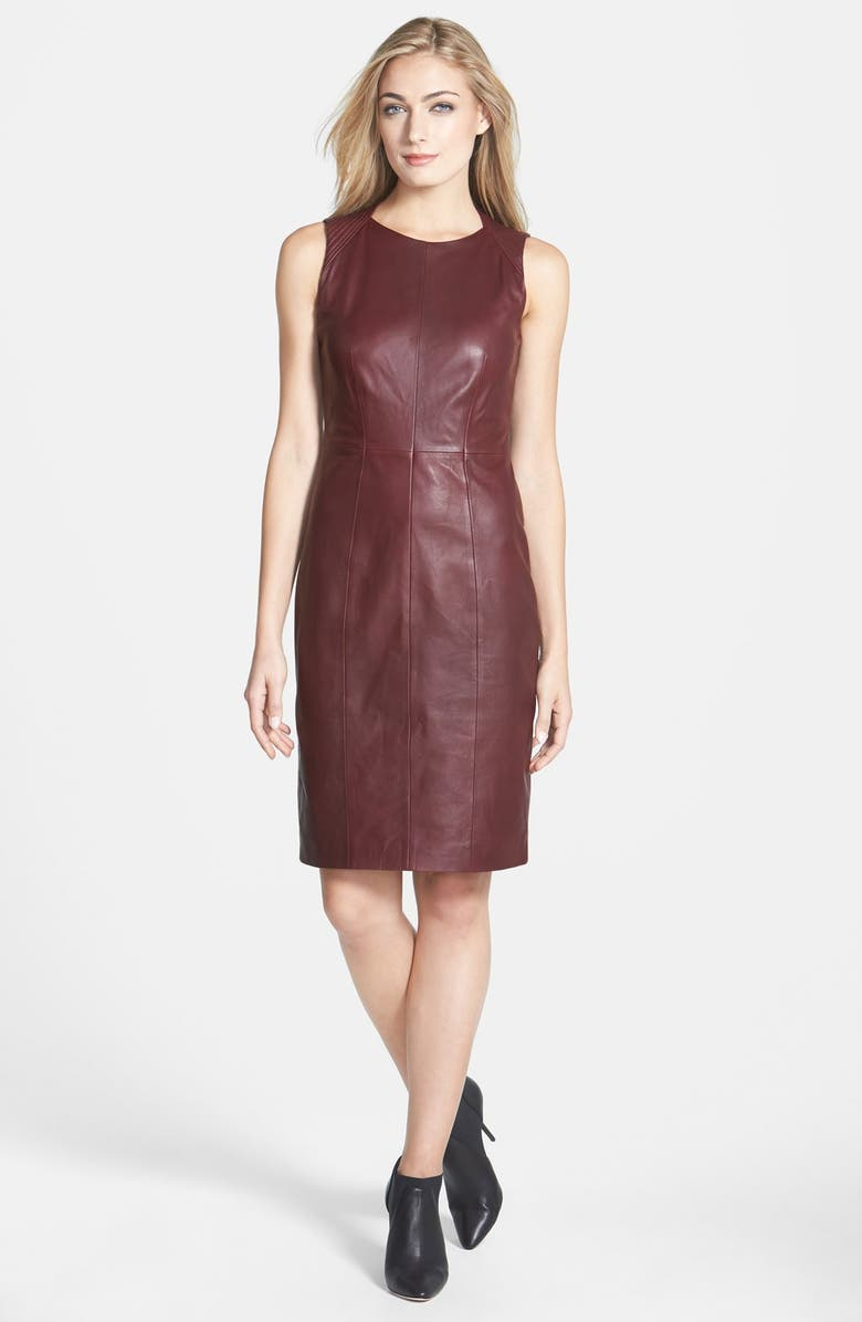 BOSS Lambskin Leather Sheath Dress, Main, color, 930