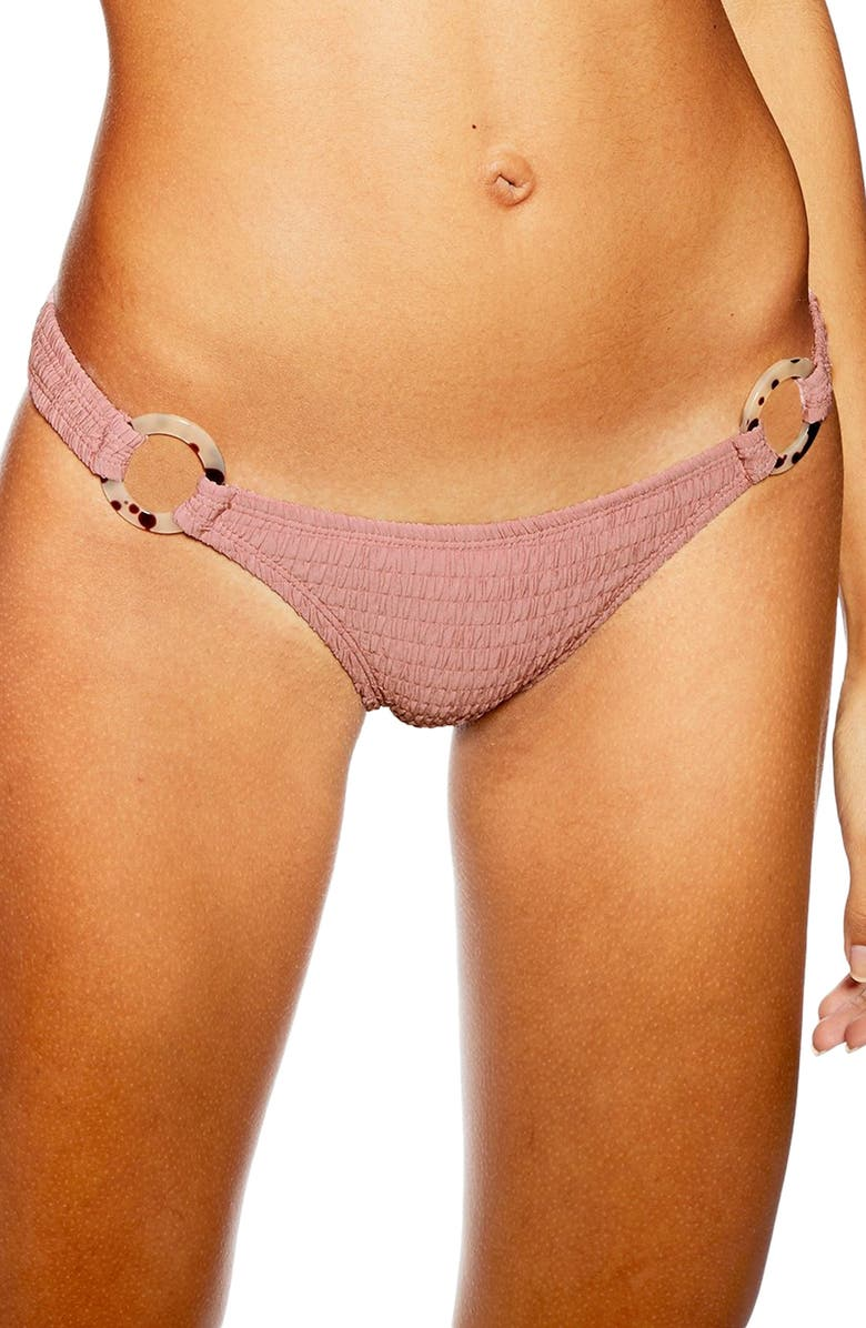 5133191cb8 Tortoise Ring Smocked Bikini Bottoms, Main, color, DUSTY PINK