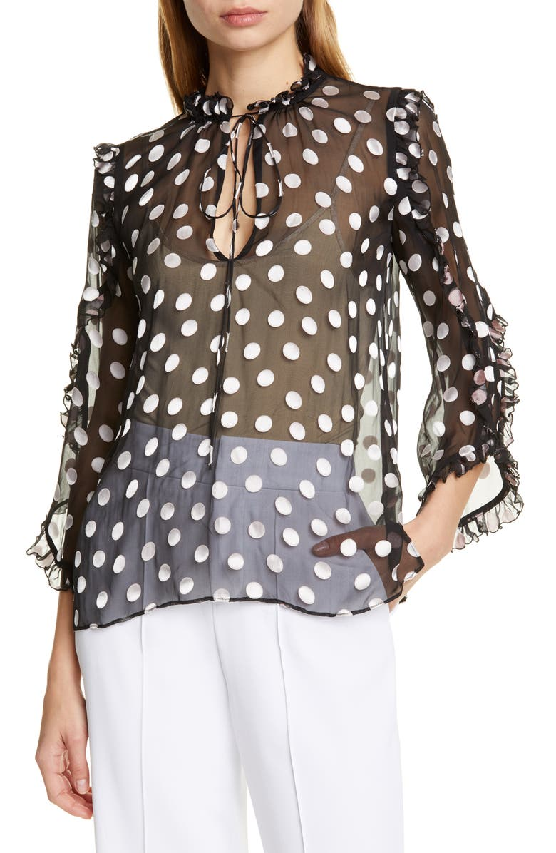 ALICE + OLIVIA Julius Ruffle Sleeve Polka Dot Silk Blend Blouse, Main, color, POLKA DOT BLACK/ SOFT WHITE