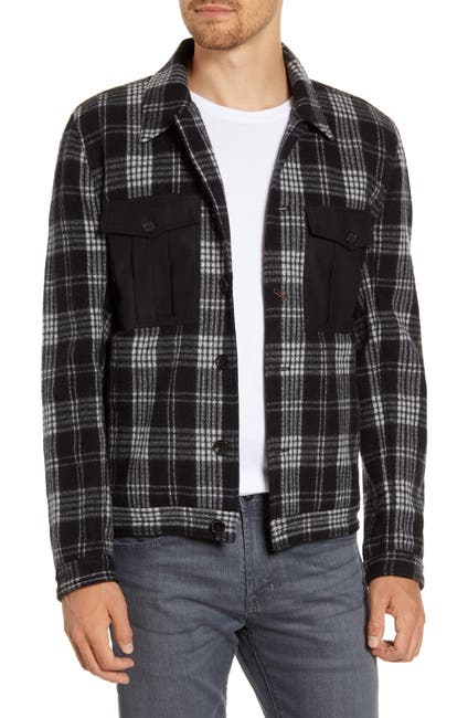 Image of Billy Reid Standard Fit Plaid Flannel Trucker Jacket