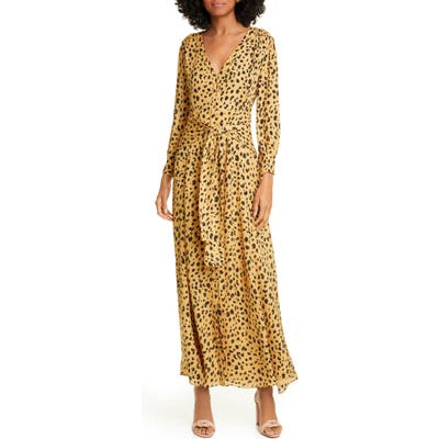 Nicholas Animal Print Long Sleeve Maxi Dress, Brown