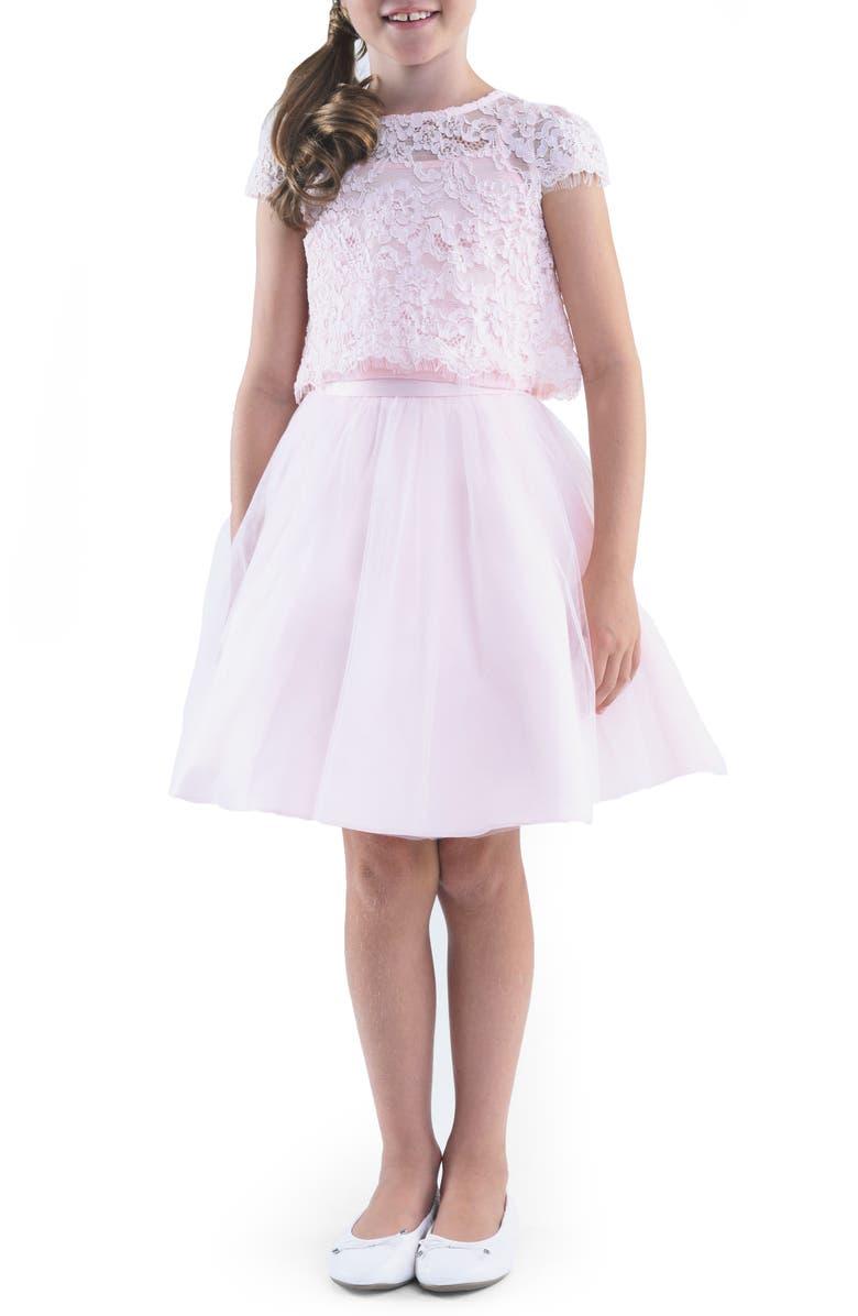 US ANGELS Lace Top & Mesh Skirt Set, Main, color, BLUSH PINK