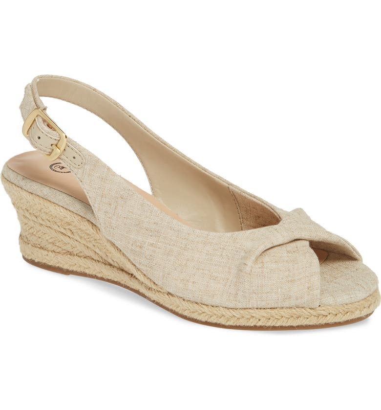 BELLA VITA Sylvie II Espadrille Wedge Sandal, Main, color, NATURAL LINEN