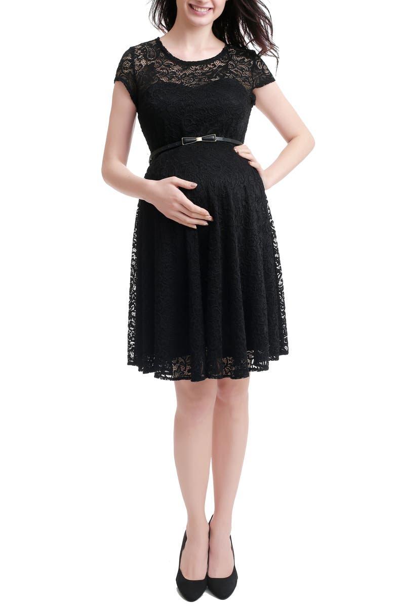 KIMI AND KAI Lace Maternity Skater Dress, Main, color, BLACK