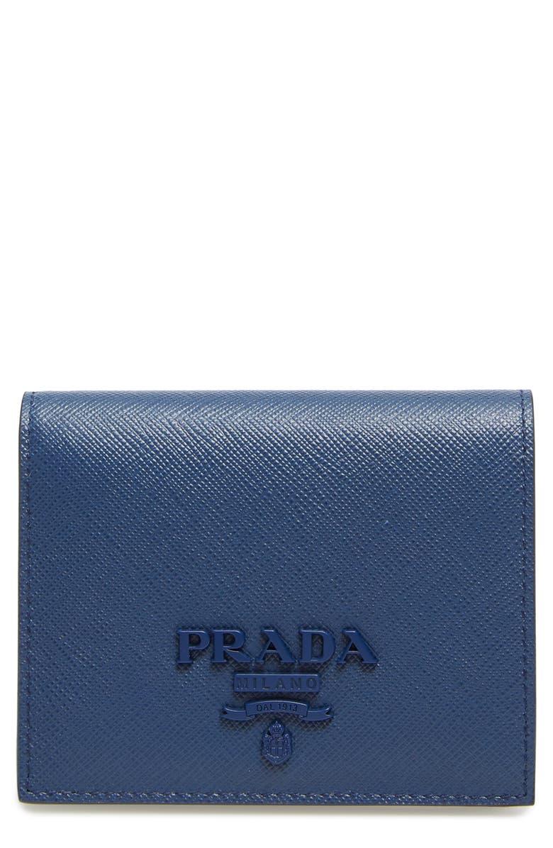 PRADA Monochromatic Logo Saffiano Leather Wallet, Main, color, BLUETTE