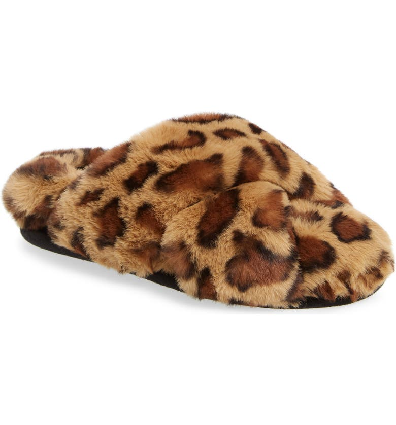 BP. Sophie Criss Cross Plush Bedroom Slipper, Main, color, LEOPARD FAUX FUR