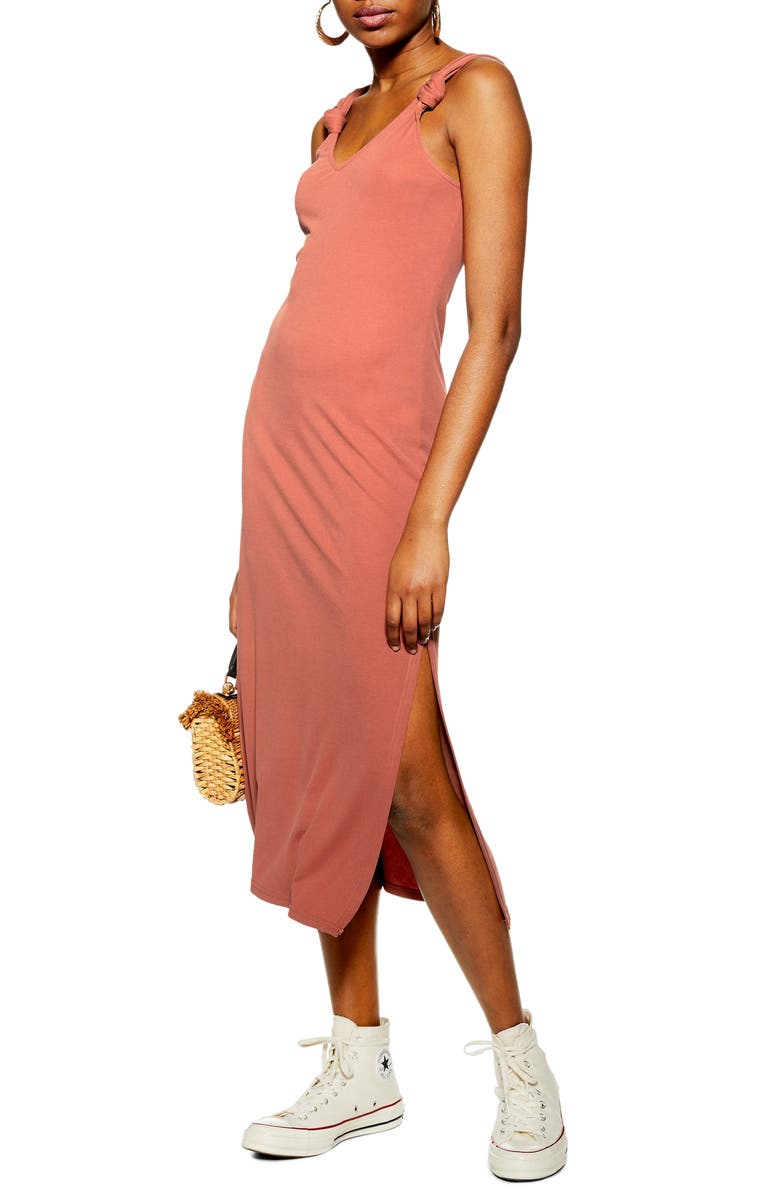 TOPSHOP Midi Dress, Main, color, RUST