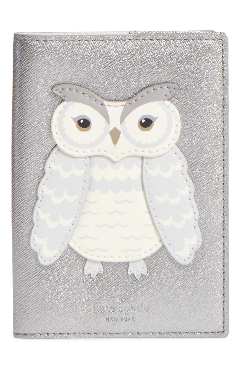 KATE SPADE NEW YORK starbright owl leather passport case, Main, color, 040