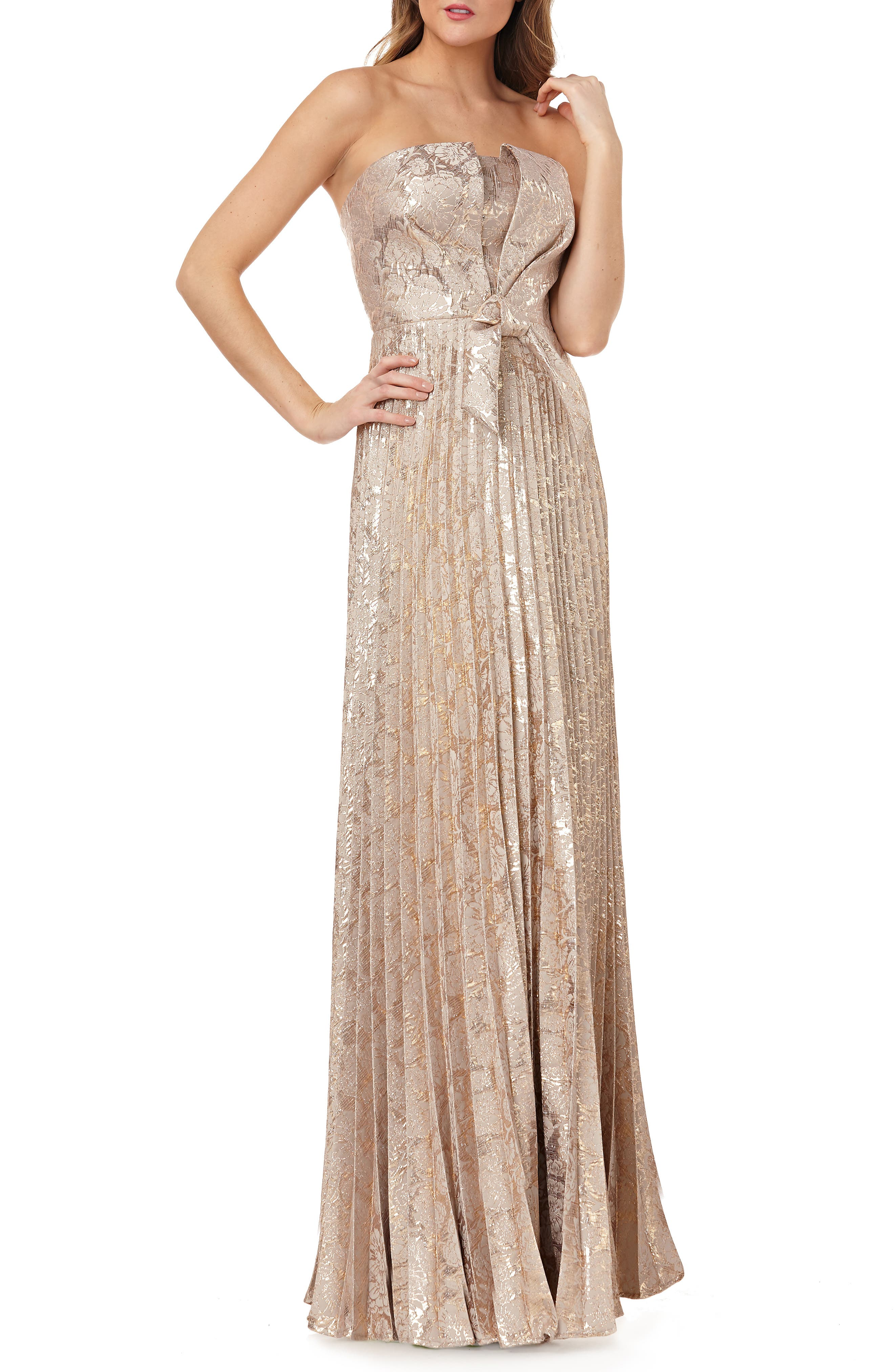Kay Unger Strapless Knot Detail Mikado Gown