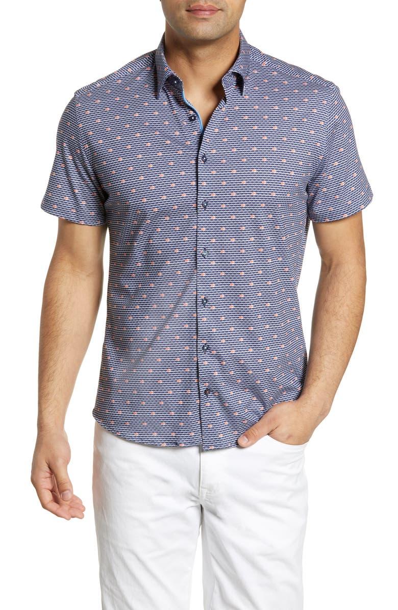 STONE ROSE Regular Fit Fish Print Shirt, Main, color, NAVY