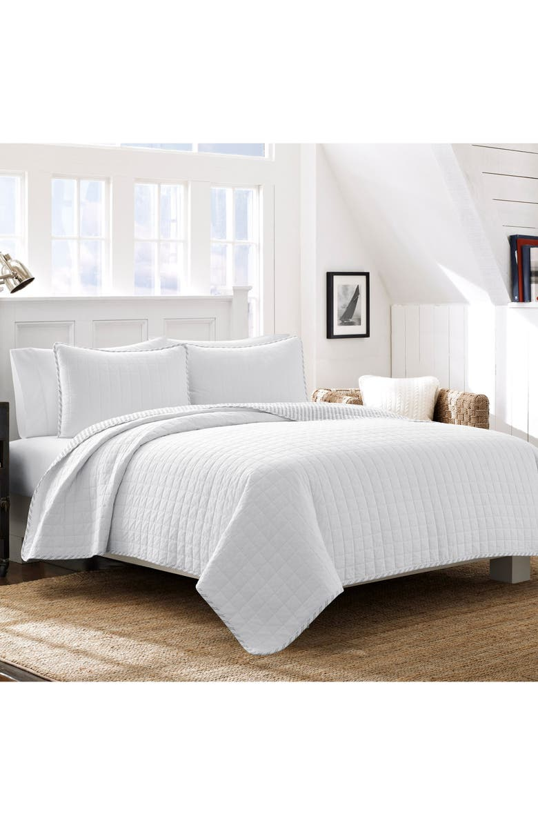 NAUTICA Maywood Quilt & Sham Set, Main, color, WHITE