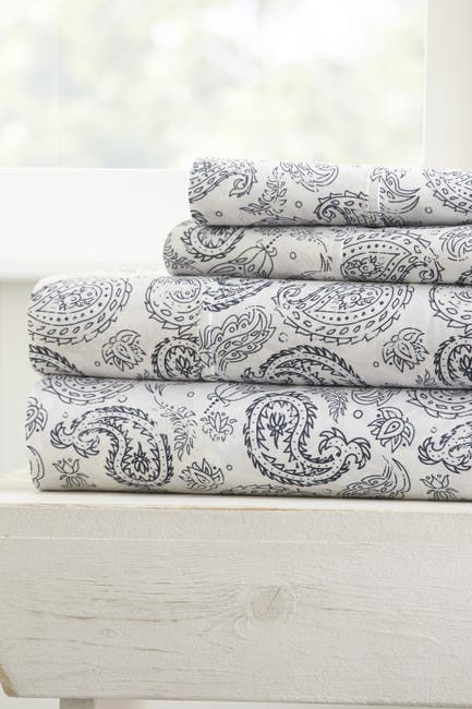 Image of IENJOY HOME The Home Spun Premium Ultra Soft Coarse Paisley Pattern 4-Piece Queen Bed Sheet Set - Navy