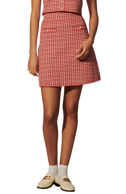 Sandro CHECK COTTON BLEND KNIT SKIRT