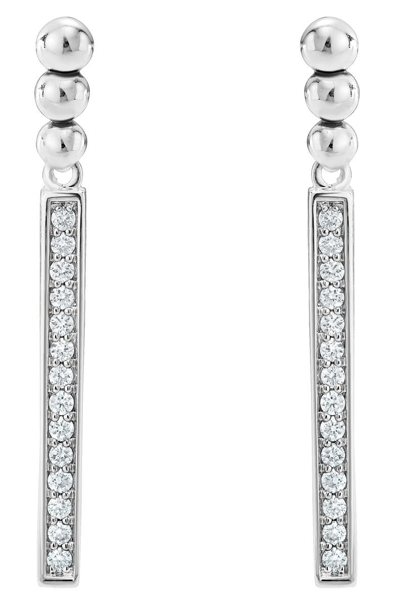 LAGOS Caviar Spark Diamond Drop Earrings, Main, color, SILVER/ DIAMOND