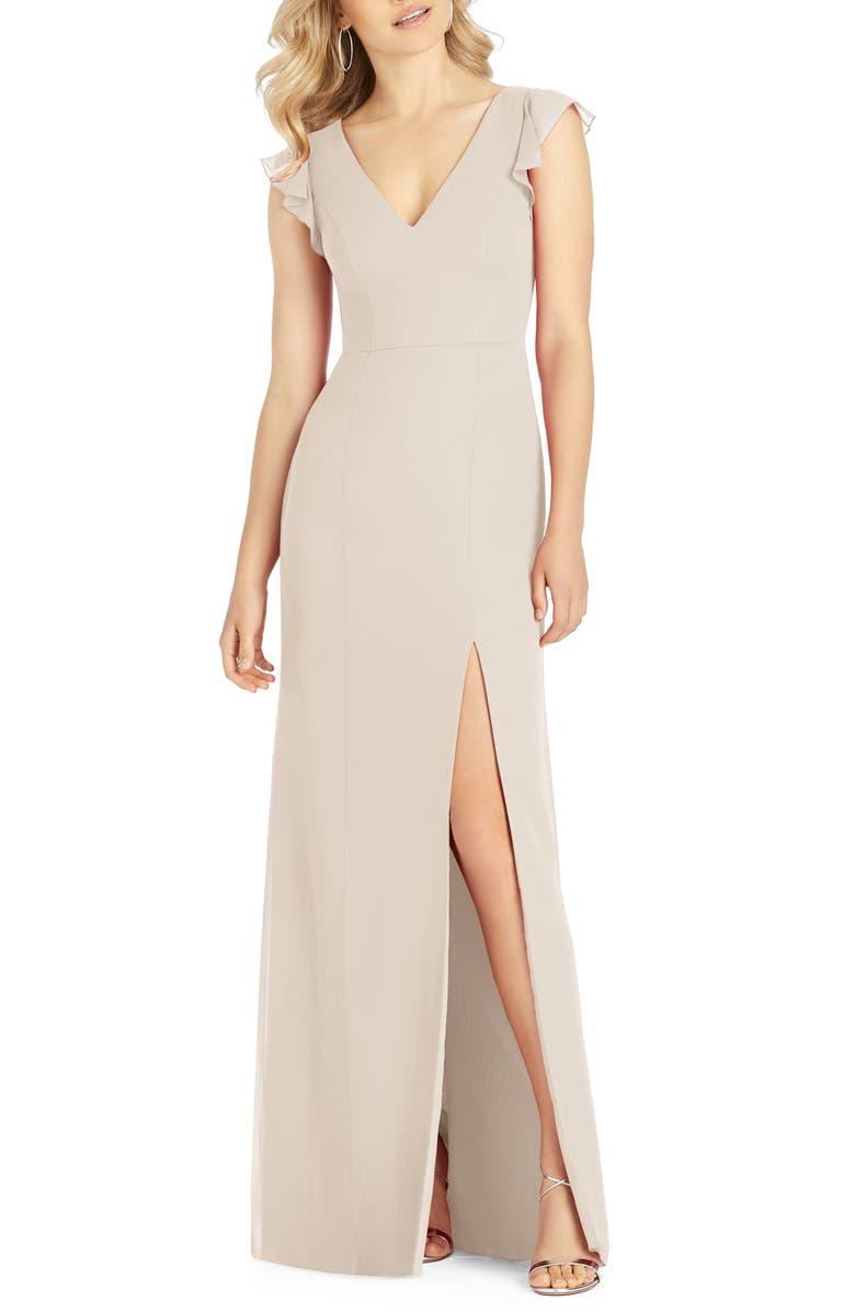 AFTER SIX V-Neck Ruffle Sleeve Evening Dress, Main, color, CAMEO