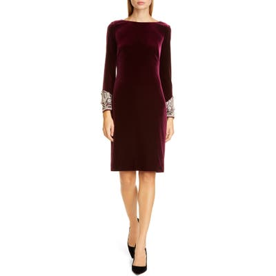 Badgley Mischka Beaded Cuff Velvet Cocktail Dress, Burgundy