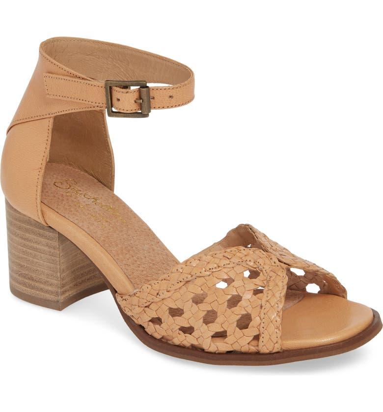 SEYCHELLES Woven Ankle Strap Sandal, Main, color, BEIGE LEATHER