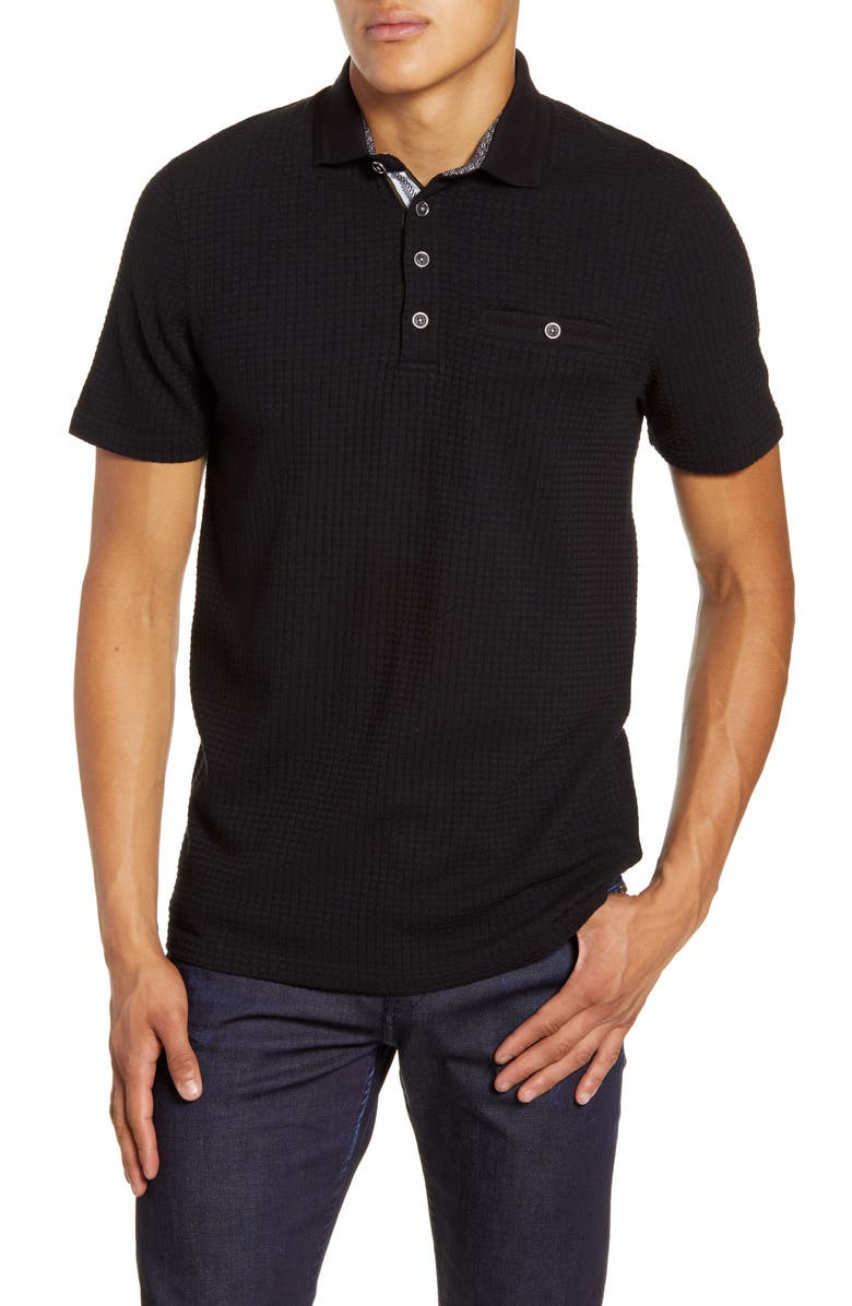 TED BAKER LONDON Hughes Slim Fit Textured Polo, Main, color, BLACK