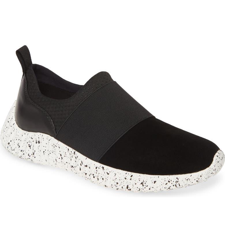 JOHNSTON & MURPHY Kelly Slip-On Sneaker, Main, color, BLACK SUEDE