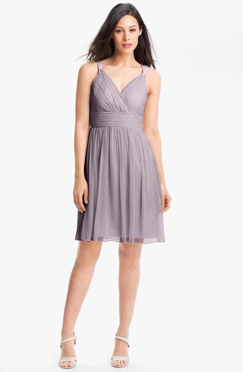 DONNA MORGAN 'Jackie' Ruched Chiffon Dress, Main, color, 020