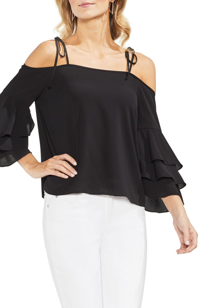 VINCE CAMUTO Cold Shoulder Ruffle Sleeve Top, Main, color, 001