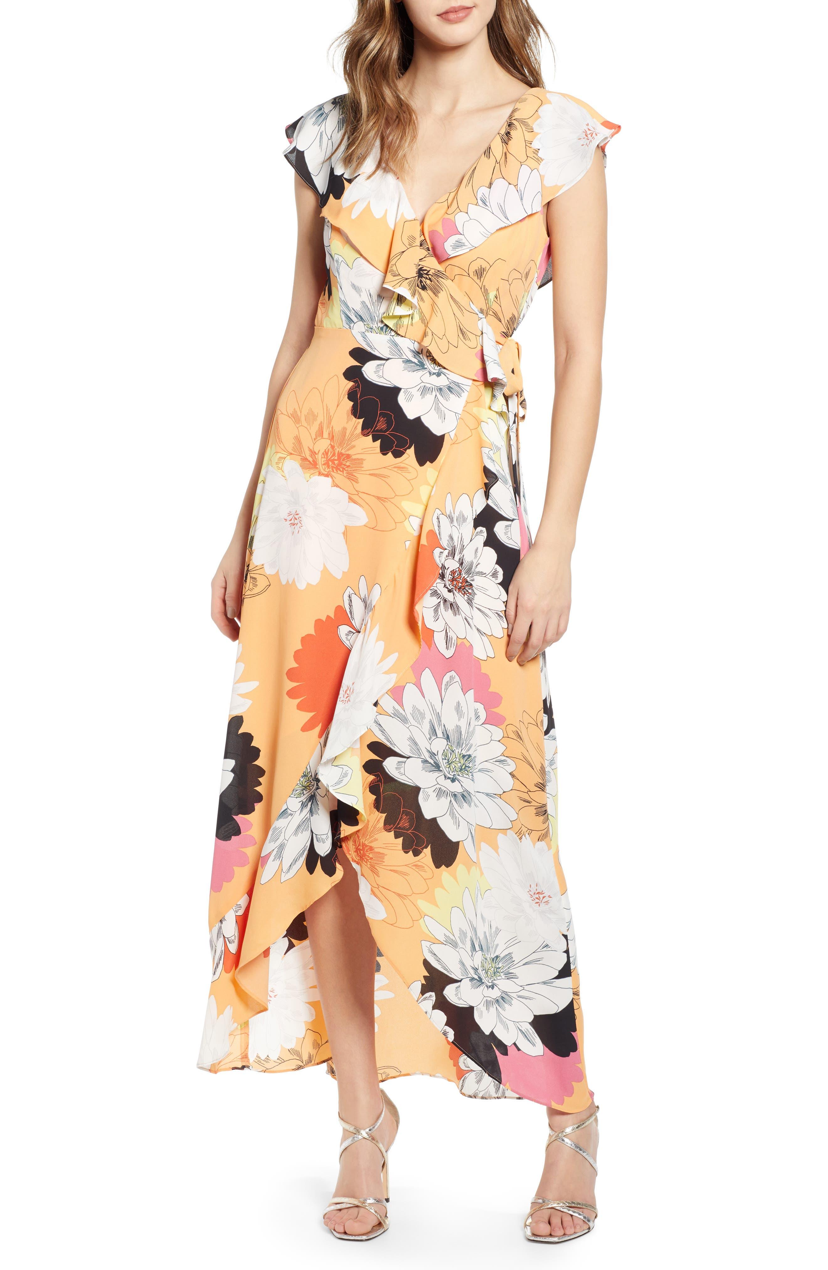 Leith Ruffle Wrap Maxi Dress, Coral