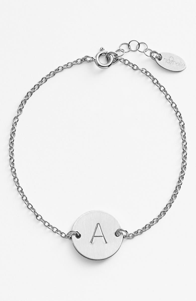 NASHELLE Sterling Silver Initial Disc Bracelet, Main, color, STERLING SILVER A