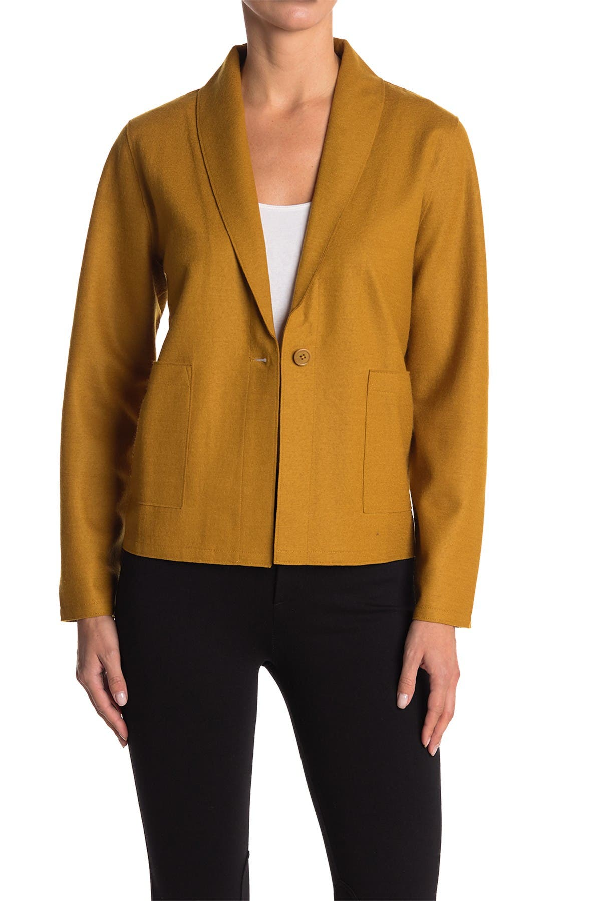 Image of Eileen Fisher Shawl Collar Patch Pocket Wool Jacket