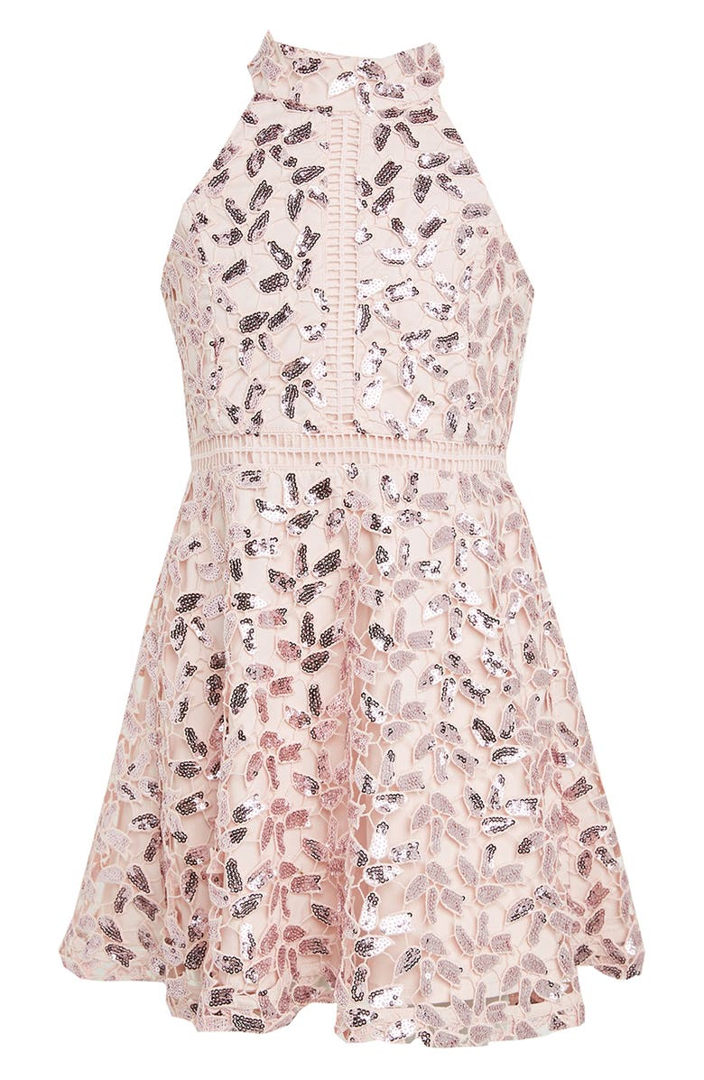 BARDOT JUNIOR Gemma Sequin Lace Halter Dress, Main, color, 651