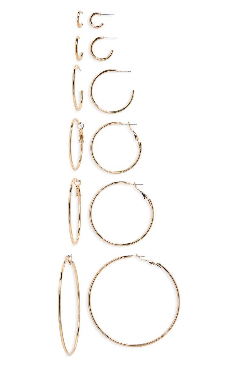 BP. 6-Pack Hoop Earrings, Main, color, GOLD
