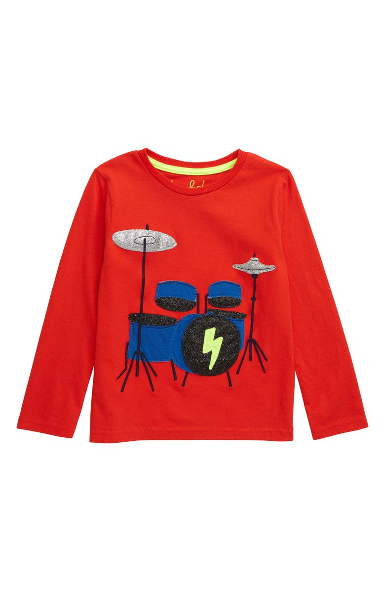MINI BODEN Drum Kit Appliqué T-Shirt, Main, color, 614