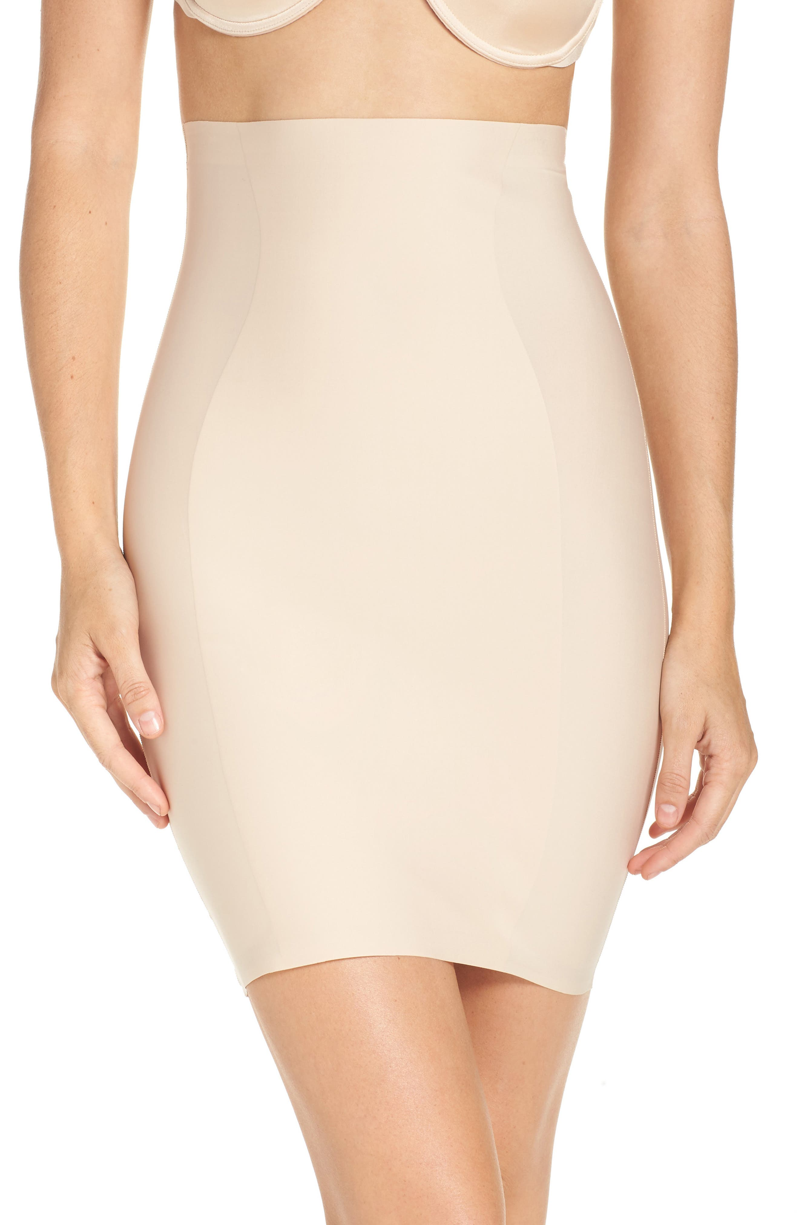 High Waist Smoother Skirt Slip, Main, color, FRAPPE