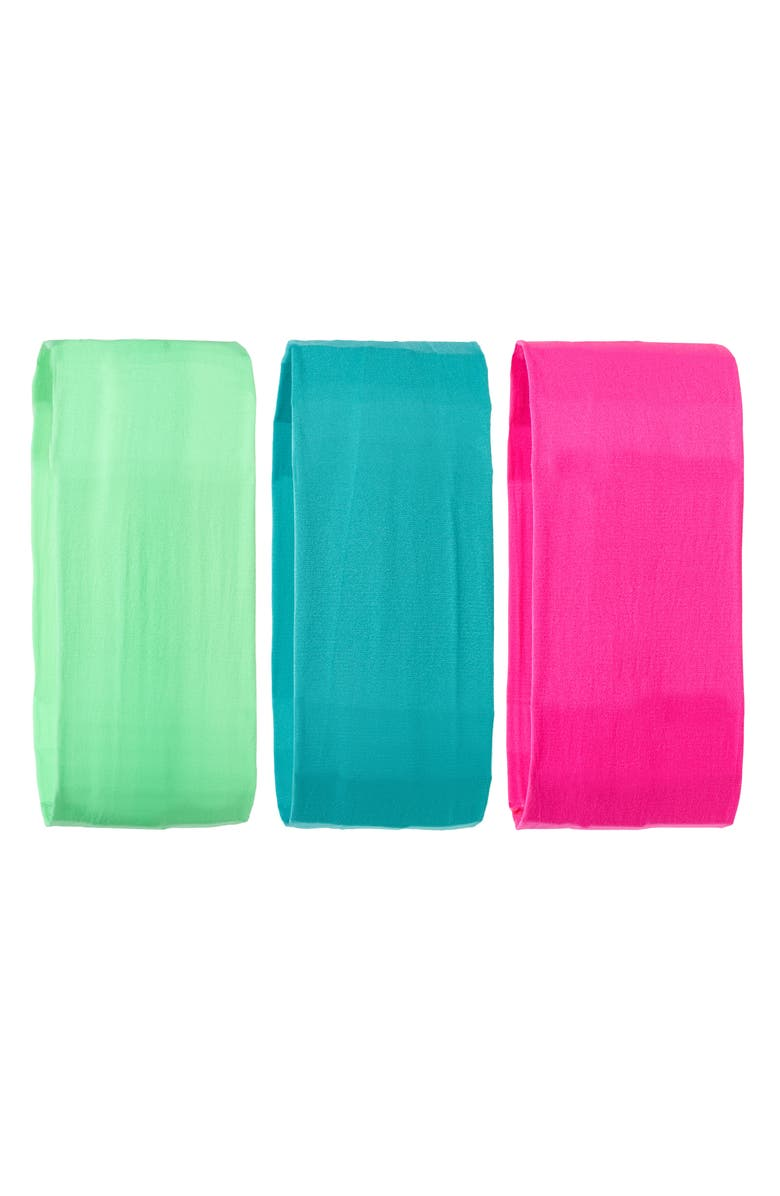 L. ERICKSON 3-Pack Neon Head Wraps, Main, color, HOT PINK/ FIJI/ LIME