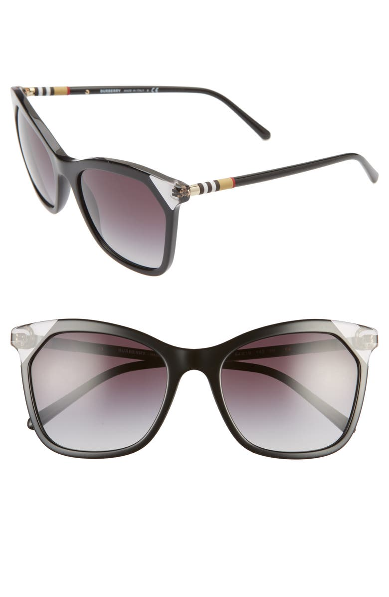 BURBERRY Heritage 54mm Square Sunglasses, Main, color, 001