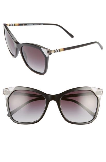 Burberry Sunglasses HERITAGE 54MM SQUARE SUNGLASSES - BLACK/GREY GRADIENT