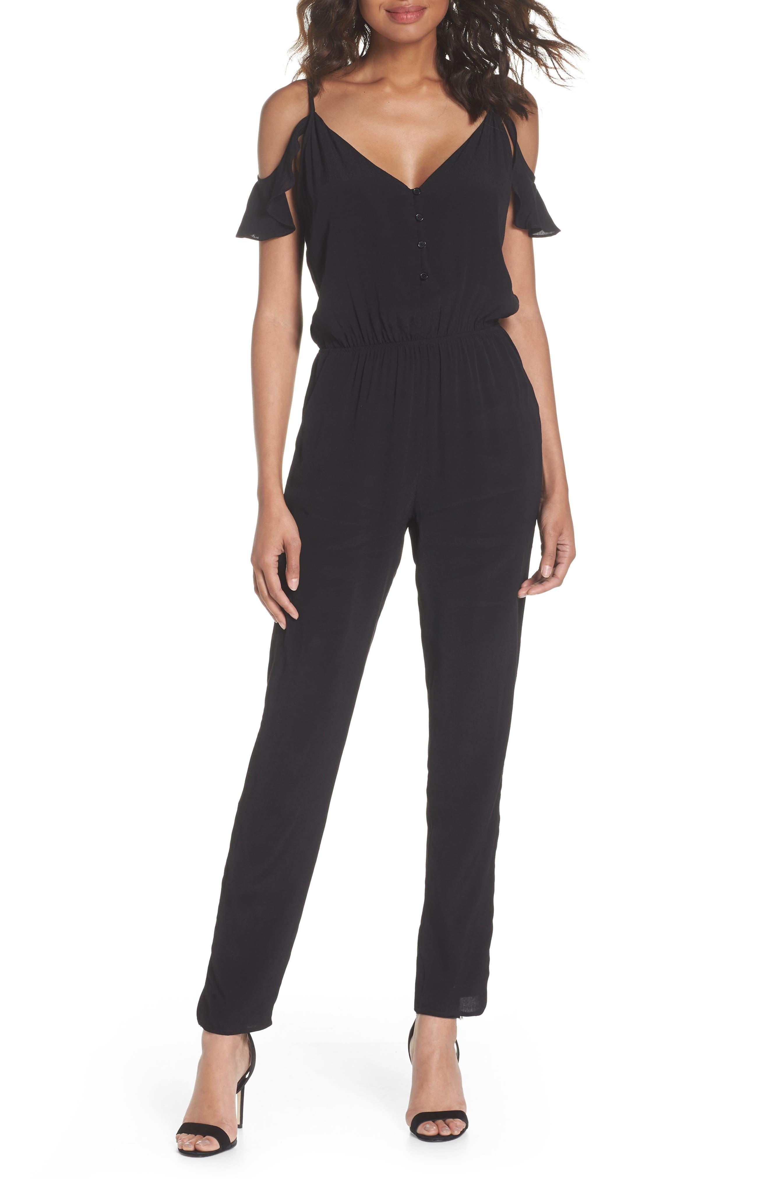 ,                             Ruffle Cold Shoulder Jumpsuit,                             Main thumbnail 1, color,                             BLACK