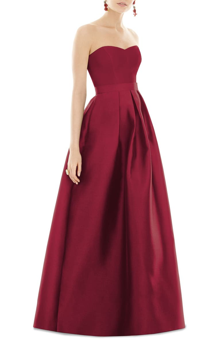 ALFRED SUNG Strapless Satin Twill A-Line Gown, Main, color, BURGUNDY