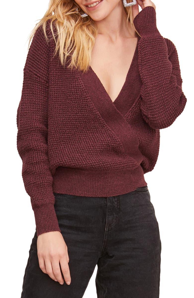ASTR THE LABEL Stephanie Surplice Sweater, Main, color, WINE/ BLACK