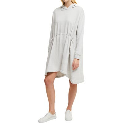 French Connection Santino Hoodie Fleece Tunic Dress, Grey